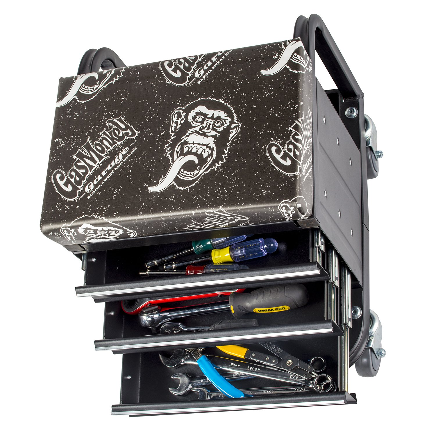 Gas Monkey Creeper Seat and Tool Box Combo - 3-Drawers Toolbox with 4 Rolling Casters - 450 Lbs Capacity by Gas Monkey (Image #6)