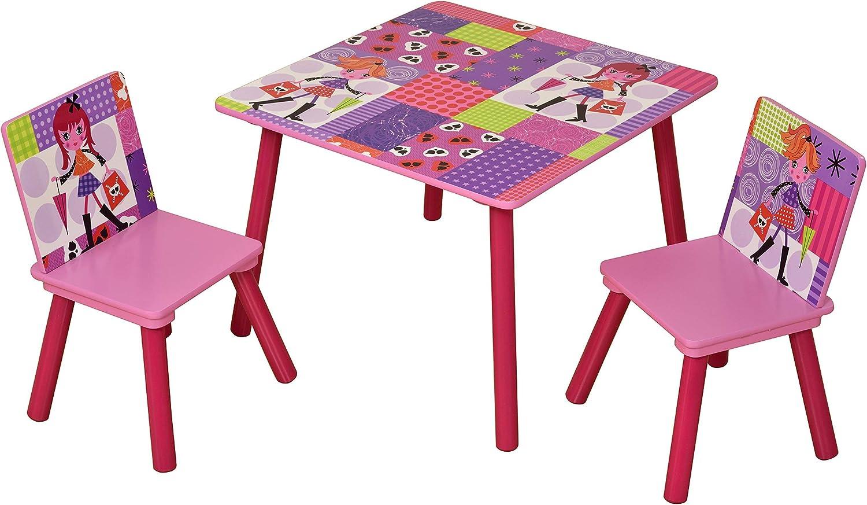 Liberty House Toys Fashion Girl Table 2 Chairs Set Wood Multi Colour 60x60x44 Cm Amazon Co Uk Kitchen Home
