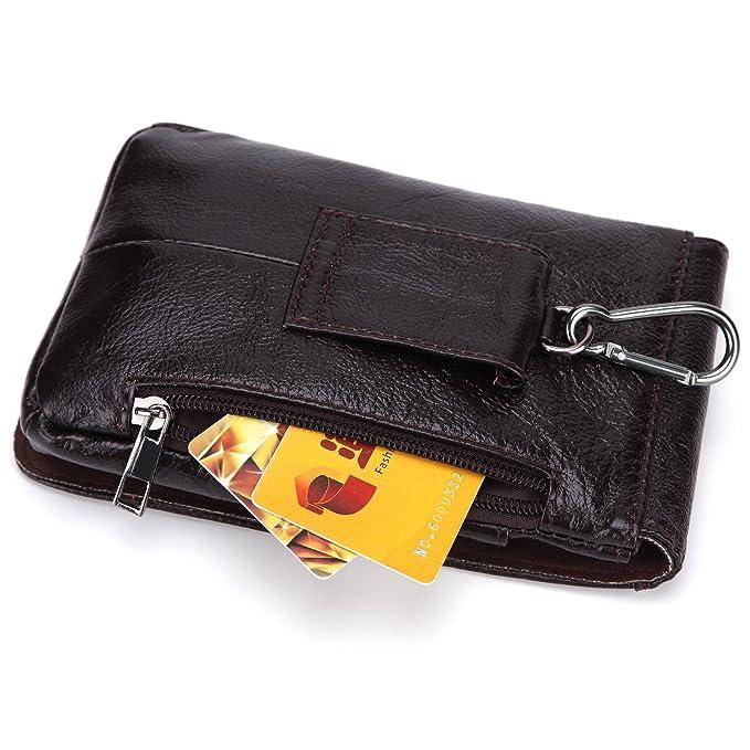 Bolsa para teléfono móvil Bolsa exterior con cremallera Cartera de cuero vintage Primera capa de aceite