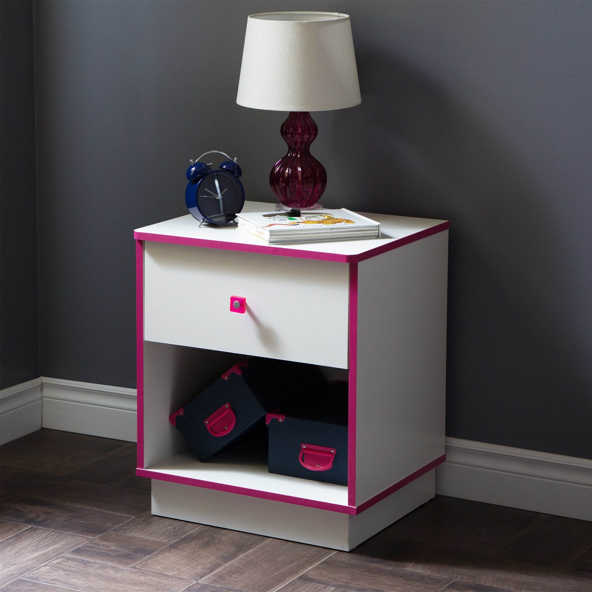 the best attitude 49a23 fd57a Details about Girls Nightstand Side Table White Pink 1-Drawer Storage Space  with Metal Handle