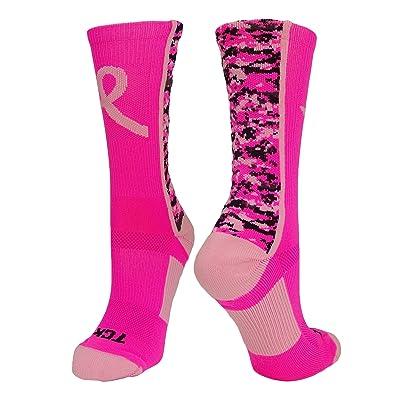 76b527e9caa90a TCK Sports Breast Cancer Awareness Pink Ribbon Digital Camo Crew Socks