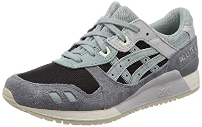 23e7762bbbff ASICS Tiger Unisex s Gel-Lyte Iii Black Blue Surf Leather Sneakers-10 UK