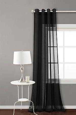 Rideau avec 8 ollao (1 Unité x 140 x 260) translucida pour salon, chambre  et chambre. Modèle Clara. 140_x_260_cm (Noir)
