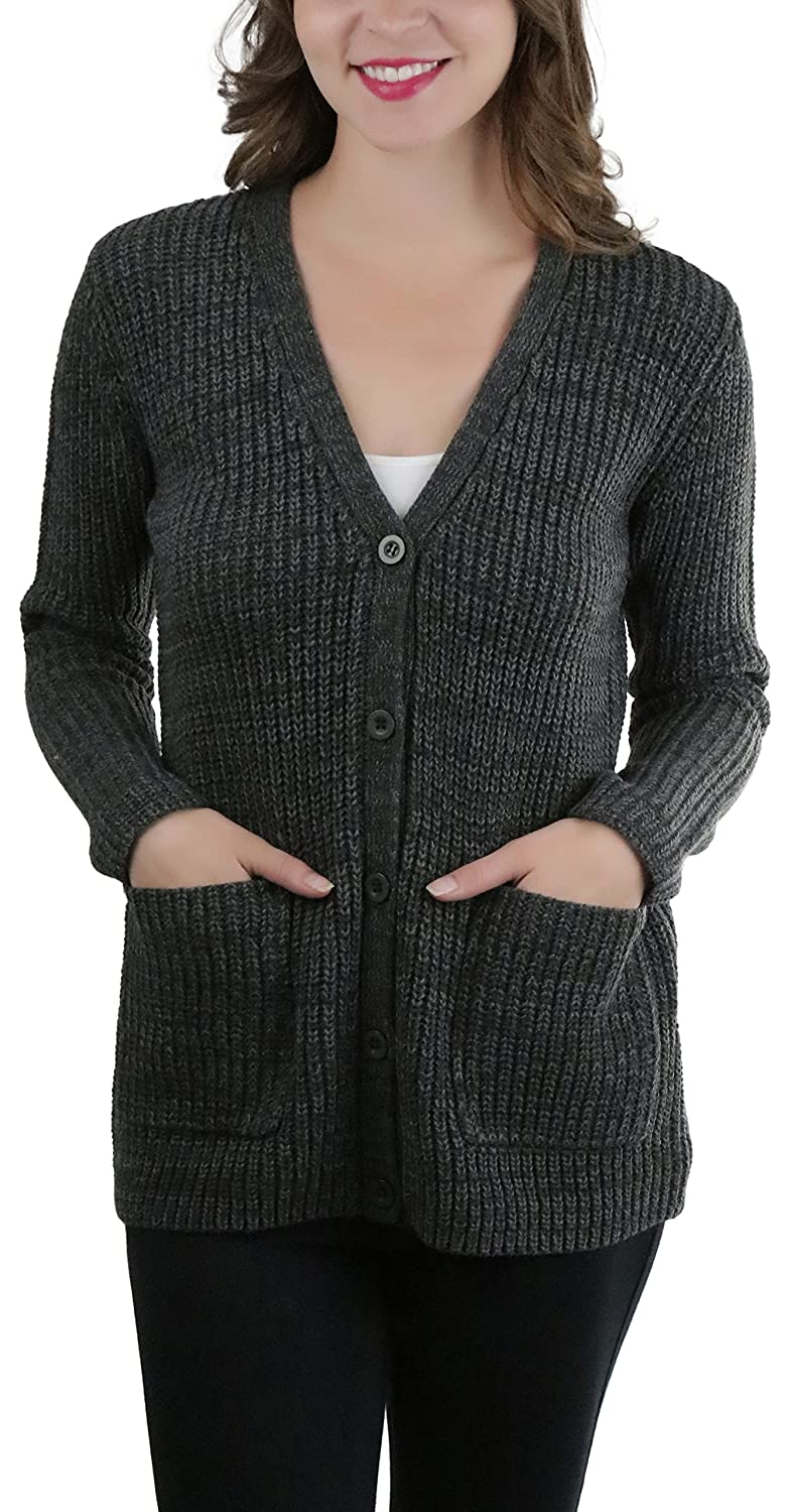 Charcoal ToBeInStyle Women's Knitted Acrylic Button Up Cardigan Sweater