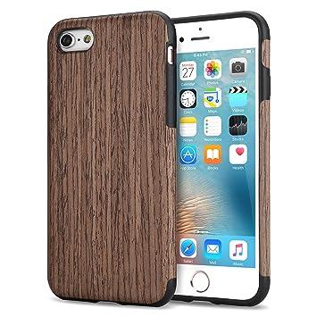 TENDLIN Funda iPhone 6s Grano de Madera Silicona TPU Híbrido Suave Carcasa para iPhone 6 6s, Rosa Negro