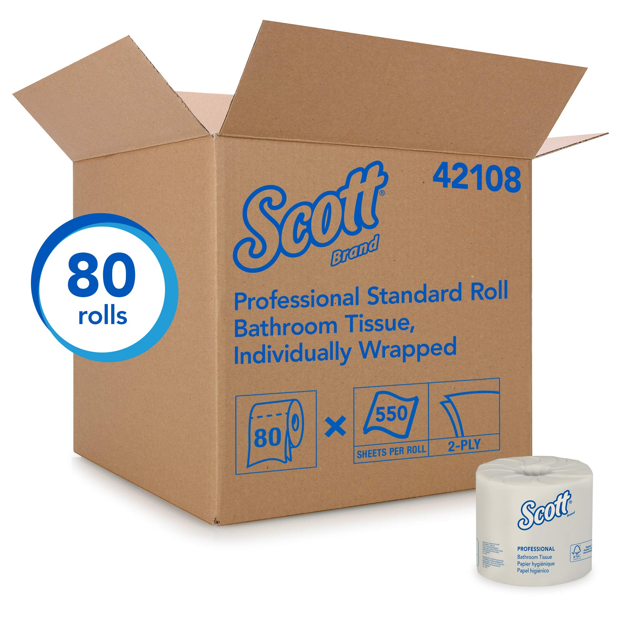 Scott Essential Professional Bulk Toilet Paper for Business (42108), Individually Wrapped Standard Rolls, 2-PLY, White, 80 Rolls / Case, 550 Sheets / Roll by Scott