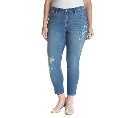 42212a4cb82 Earl Jean Plus Size Floral Embroidered Jeans at Amazon Women s Jeans store
