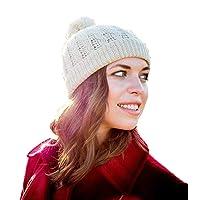 Surhilo Lima Alpaca Knit Pom Pom Beanie - Ivory Cream - Winter Luxury Cap for Women, Men & Kids