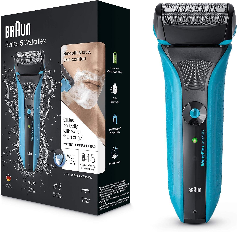 Braun WaterFlex WF2s eléctrico del hombre Foil máquina de afeitar en húmedo y seco batería y sin cable – Azul: Amazon.es: Salud y cuidado personal