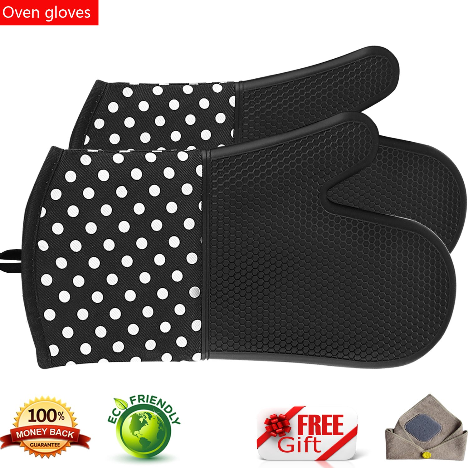 oven gloves Grill Silicone Oven Mitt Gloves Extremely Heat Resistant BBQ Gloves 1Pair, a Blue sky UK