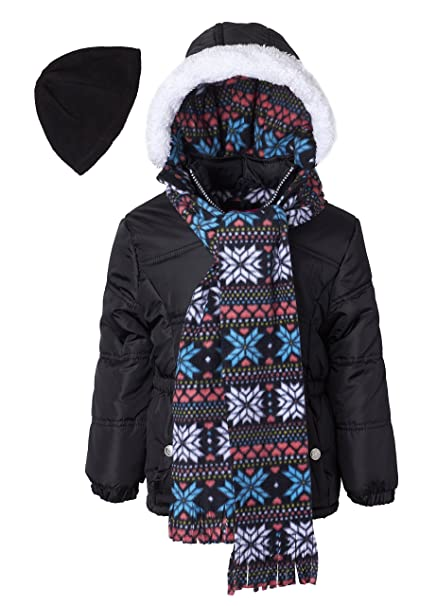 choose authentic clearance classic fit Pink Platinum Girls Hooded Winter Puffer Bubble Jacket Coat Matching Hat &  Scarf