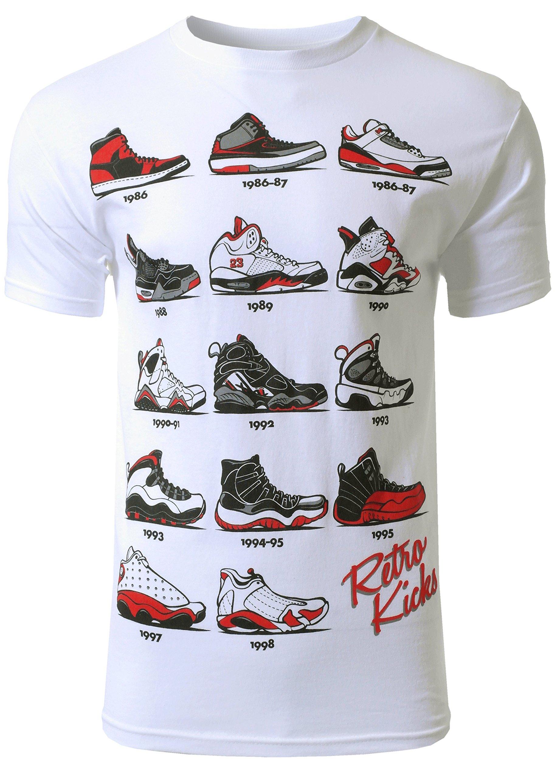 Mens Hipster The Retro Kicks Jordan Running Print T-Shirt