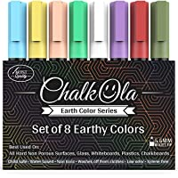 Chalkboard Chalk Markers - Pack of 8 Classic Earth color pens - For Blackboards, Chalkboard, Bistro, Window - Erasable…