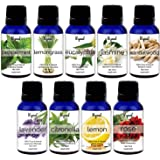 Ryaal Essential Oil Gift Set 9 In One Aroma Oil Pack for Diffusers Therapeutic Grade - Lemon Grass , Lemon, Lavender , Jasmine , Rose , Citronella , Eucalyptus, Peppermint ,Sandal Wood, 15 ML Each