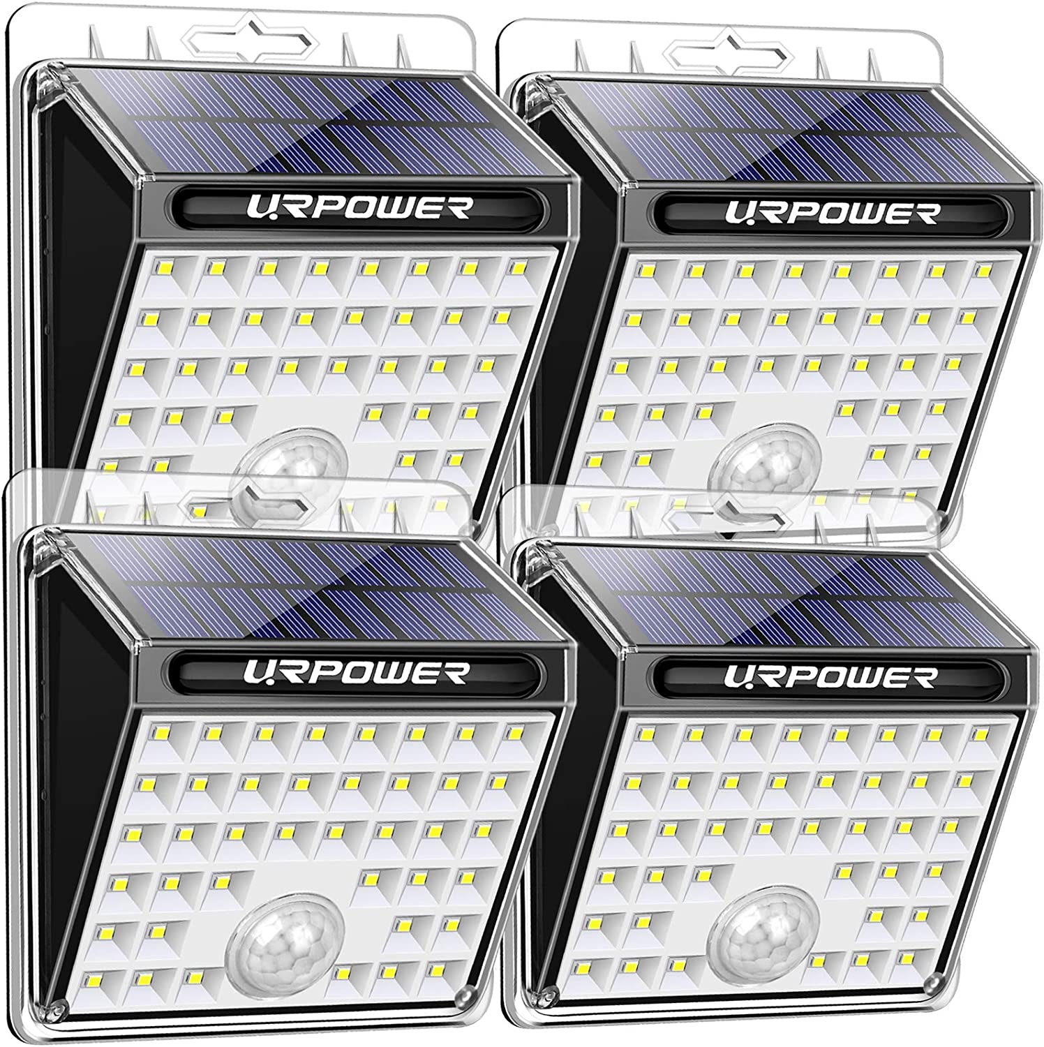 URPOWER 40 LED Solar Lights Outdoor, Solar Motion Sensor Security Lights IP65 Waterproof Solar Powered Flood Lights Motion Activated Auto ON/Off Wall Lights for Front Door, Backyard, Garage (4 Pack)