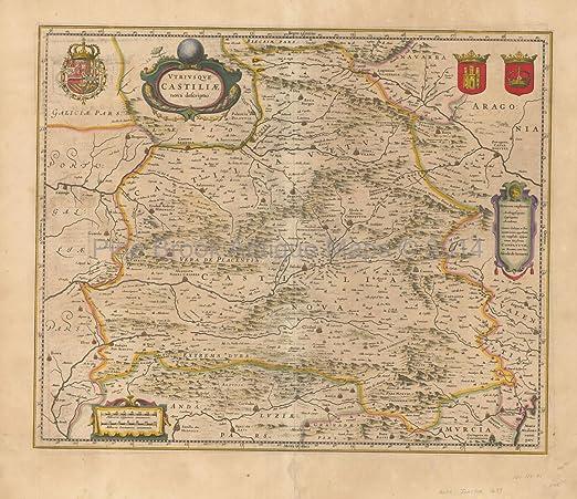 Madrid Map Of Spain.Castile Madrid Spain Antique Map Blaeu 1640 Original Spanish Decor