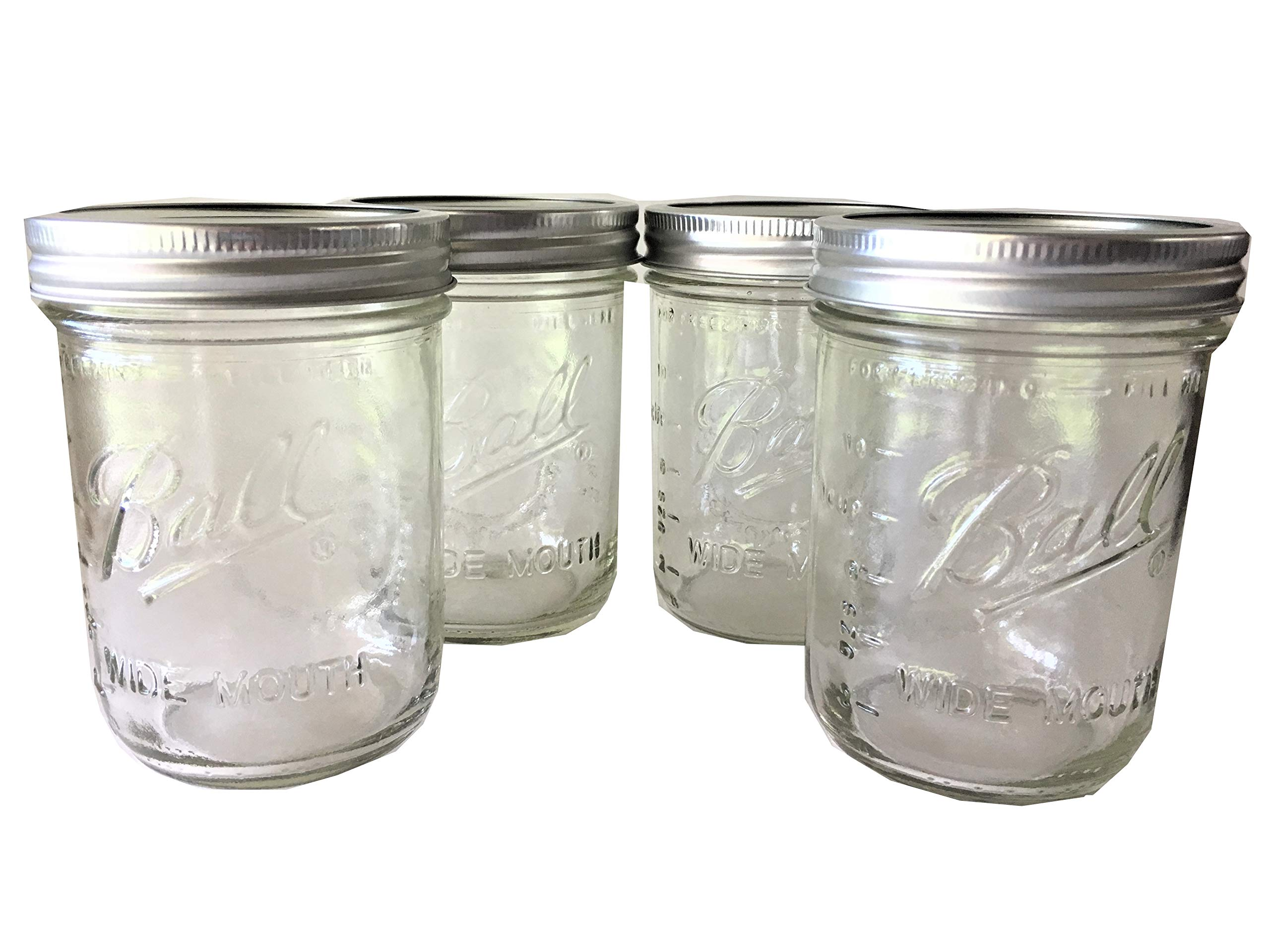 Ball Mason Jar-16 oz. Clear Glass Wide Mouth - Set of 4