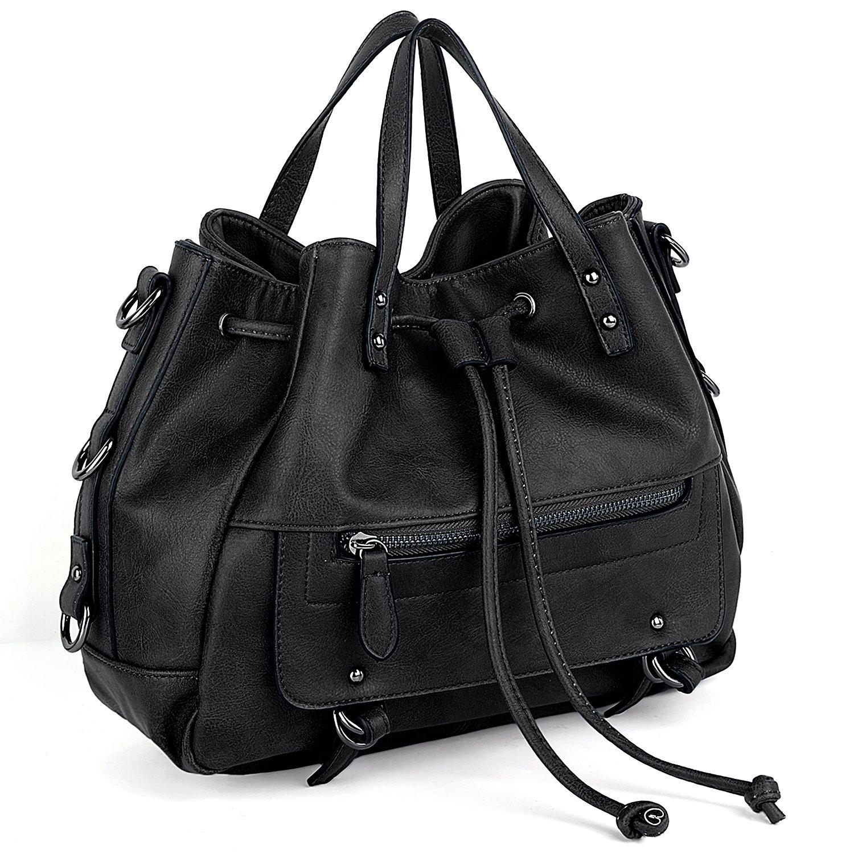 UTO Women PU Leather Shoulder Bag Medium Size Handbag Drawstring Closure Purse Satchel Bags Black