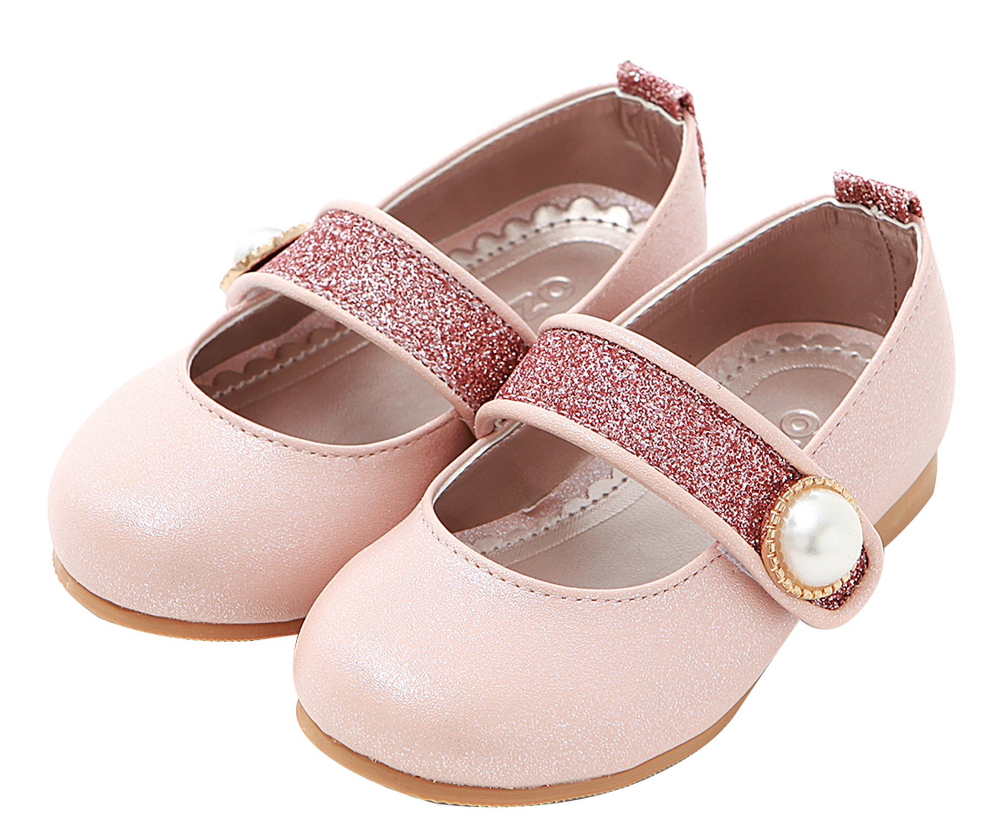 Ozkiz Little Girls Mary Jane Flat Dress Flats Basic Shoes Pointed Pearl PK 13M