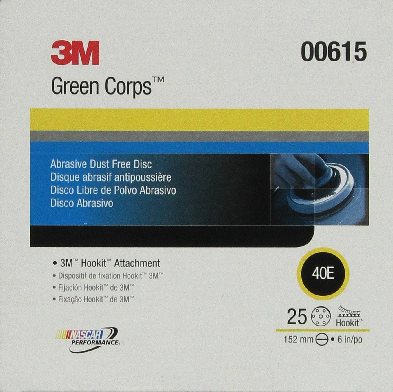 3M 00621 Green Corps Hookit 8' 80E Grit Regalite Dust-Free Disc
