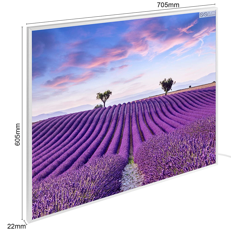 Arebos Infrarotheizung Wandheizung Bildheizung 705 x 605 x 22 mm//mit /Überhitzungsschutz//Motiv Lavendel 450 Watt//Aluminium