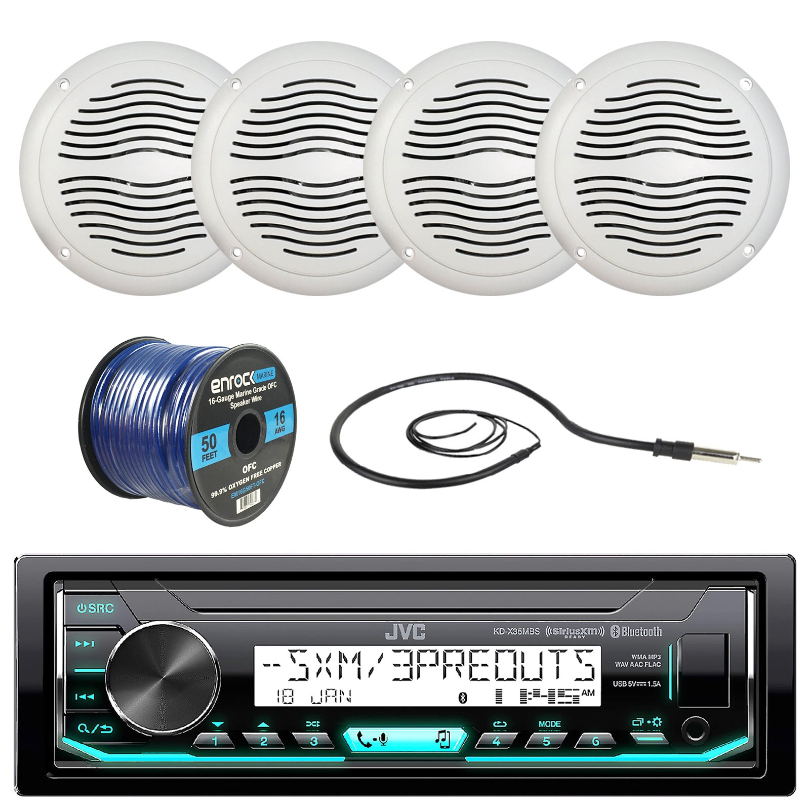 JVC KD-X33MBS Marine Boat Yacht Radio Stereo Player Receiver Bundle Combo With 4x Magnadyne WR45W 5'' Inch White Waterproof Outdoor Speakers, Enrock 22'' Radio Antenna, 50 Foot 16g Speaker Wire by EnrockMarineBundle