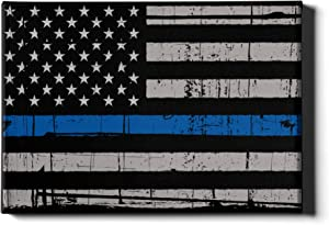 """DistinctInk Thin Blue Line US Flag Canvas Wall Art for Police Officer/Law Enforcement - 1.5"""" Gallery Wrapped"""