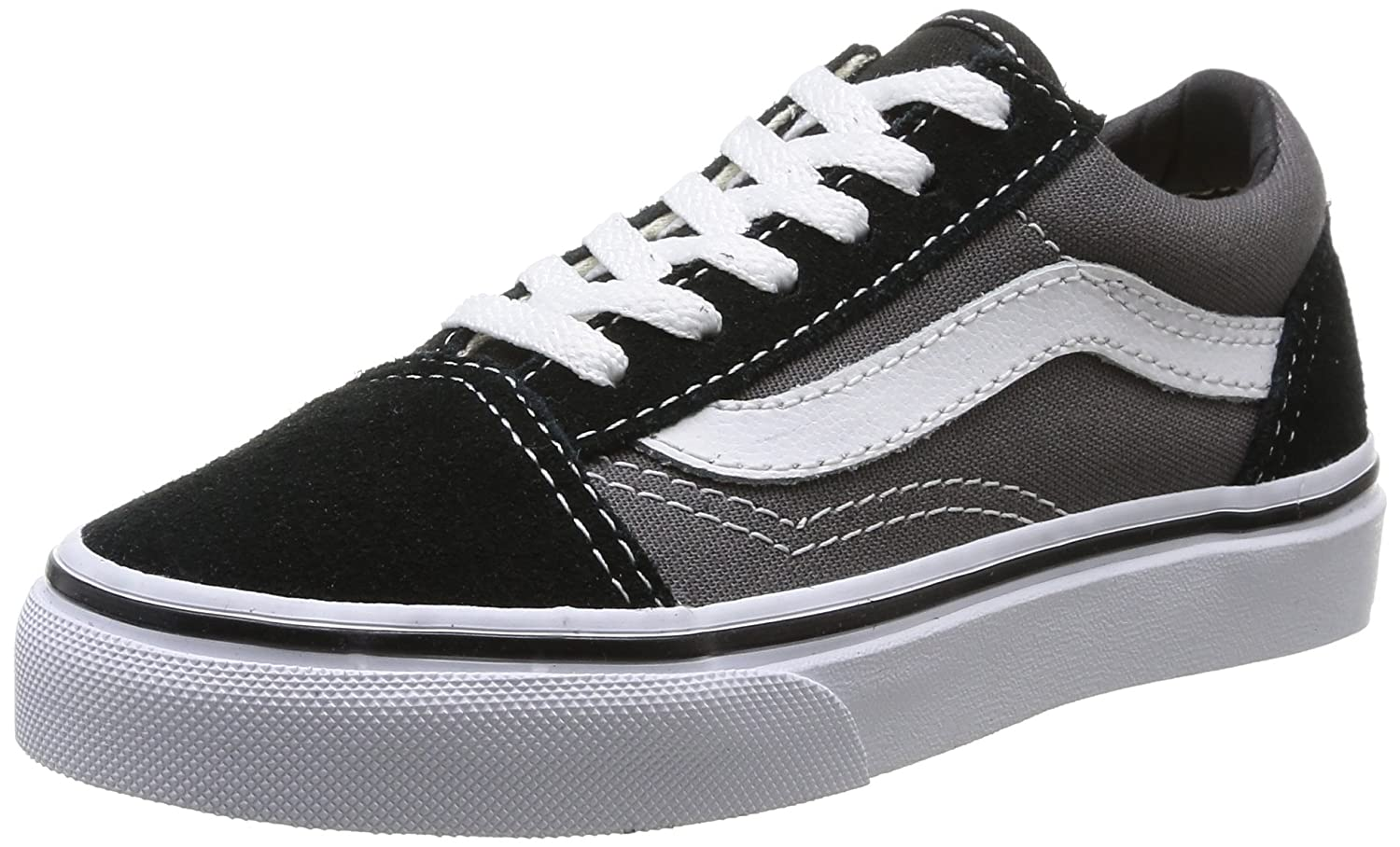 VANS Unisex Kids (C&L) Old Skool Skate Shoes, Comfortable and Durable in Sturdy Canvas and Leather Uppers B00PMMR93W 10.5 M US Little Kid|Black Pewter