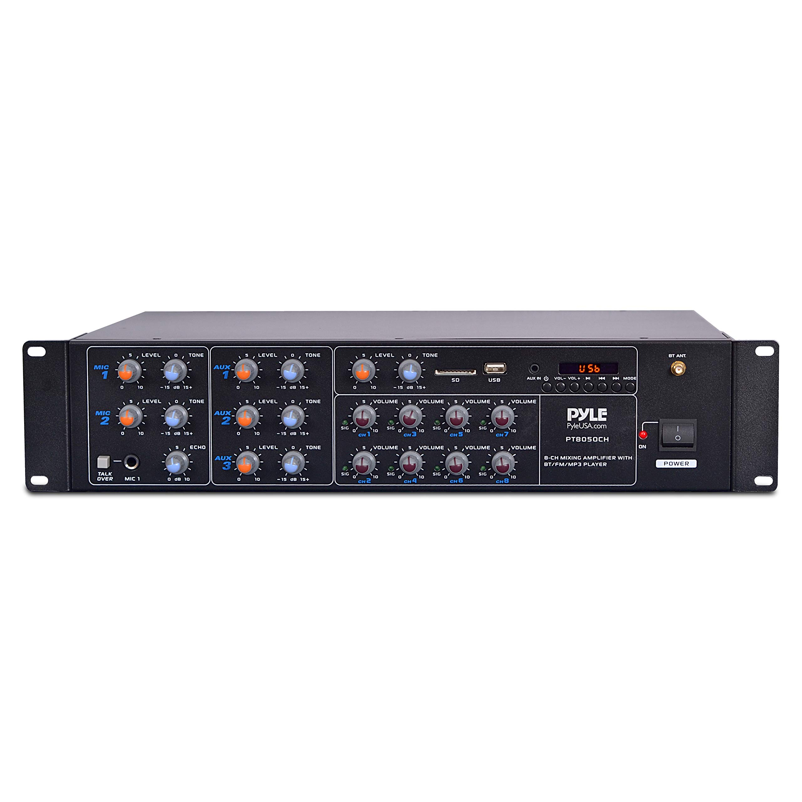 8 Outlet Power Sequencer Conditioner - 2200W Rack Mount Pro Audio Digital Power Supply Controller Regulator w/ Voltage Readout, Surge Protector, For Home Theater, Stage / Studio Use - Pyle PS1200 by Pyle