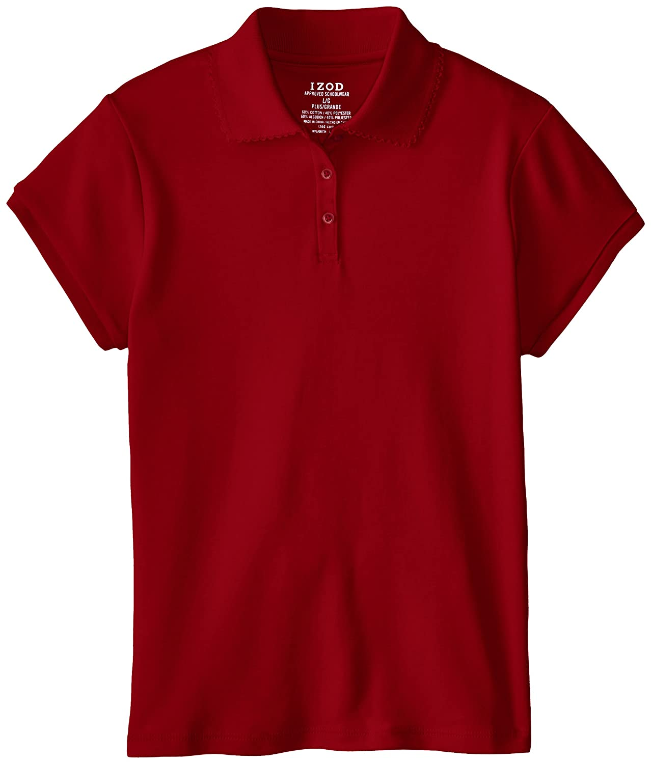 Izod Big Girls' Plus Size Short Sleeve Polo Red Medium Plus Izod Girls 7-16