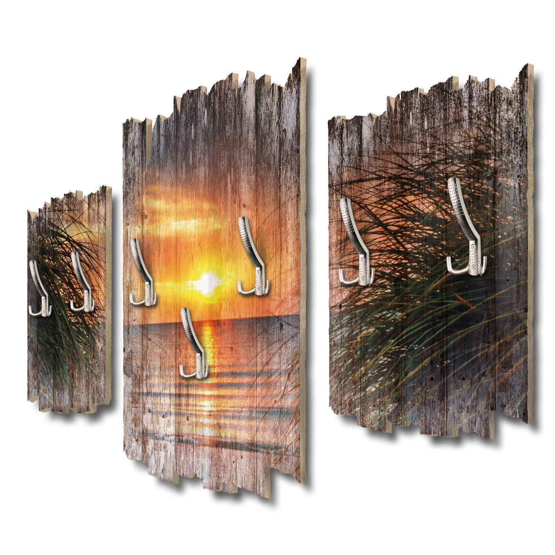 Kreative Feder Sonnenuntergang Meer Designer Wandgarderobe Flurgarderobe Wandpaneele 95 x 60 cm aus MDF DTGH093