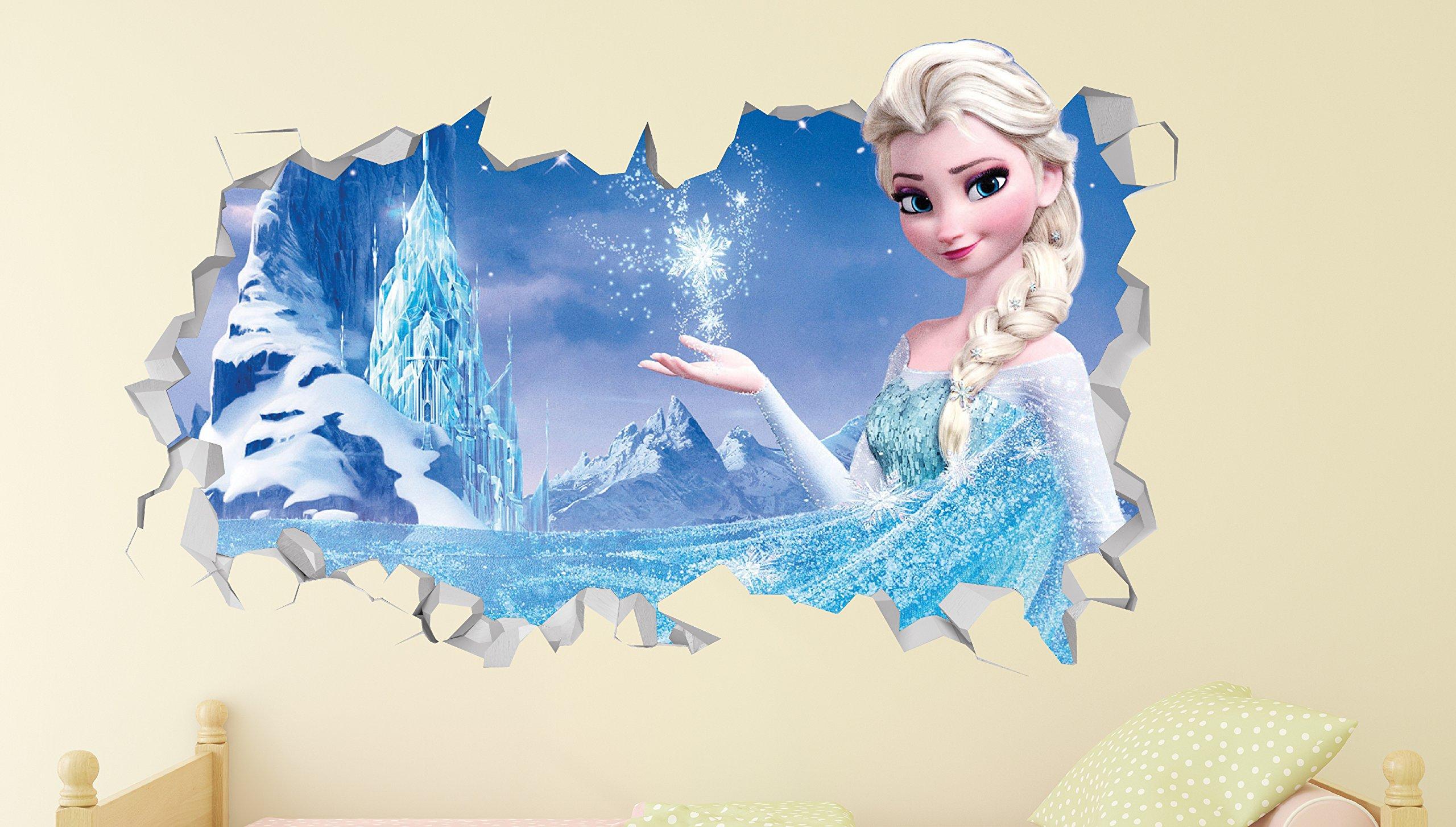 Frozen Elsa Power Wall Decal Smashed 3D Sticker Vinyl Decor Mural Movie Kids - Broken Wall - 3D Designs - LS233 (Large (Wide 40'' x 24'' Height))