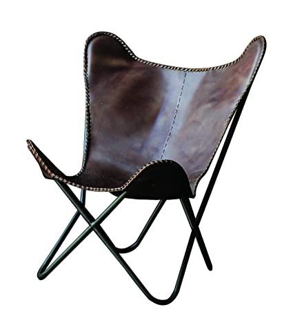 Creative Co Op Leather And Metal Butterfly Chair