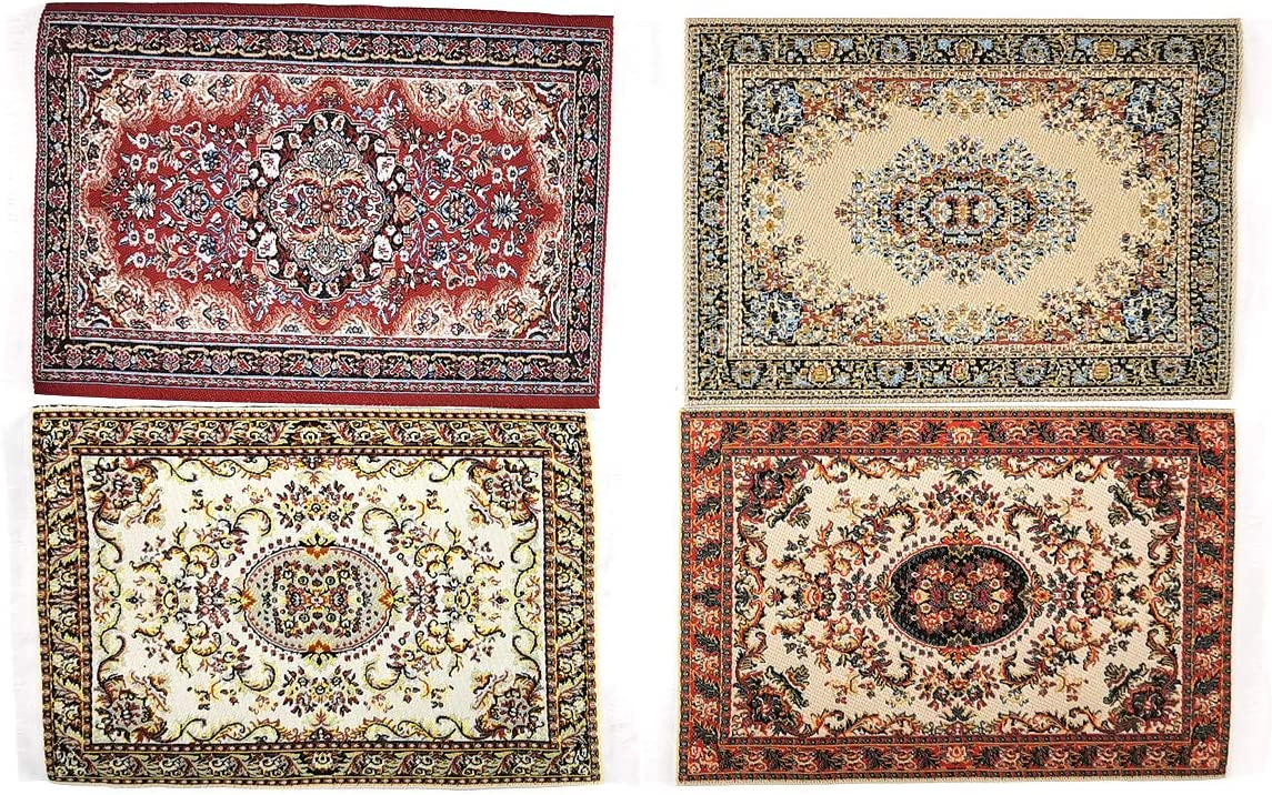 "EMiEN Dollhouse Decoration Accessories Carpet Miniature Blanket Mini Turkish Carpet for Dollhouse Floor Furniture Miniature Woven Dolls House Rugs 6"" X 4"",1/12 Scale (4pc)"