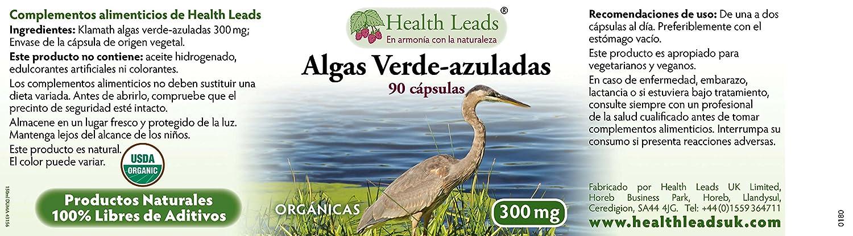 Algas Verde-azuladas (Orgánicas) 300mg x 90 cápsulas (libre de aditivos): Amazon.es: Salud y cuidado personal