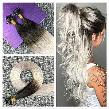 HIKYUU 18 quot  Two-tone Hair Extensions Keratin Bonding Glue Fusion Nail U  Tips   1afc08e874