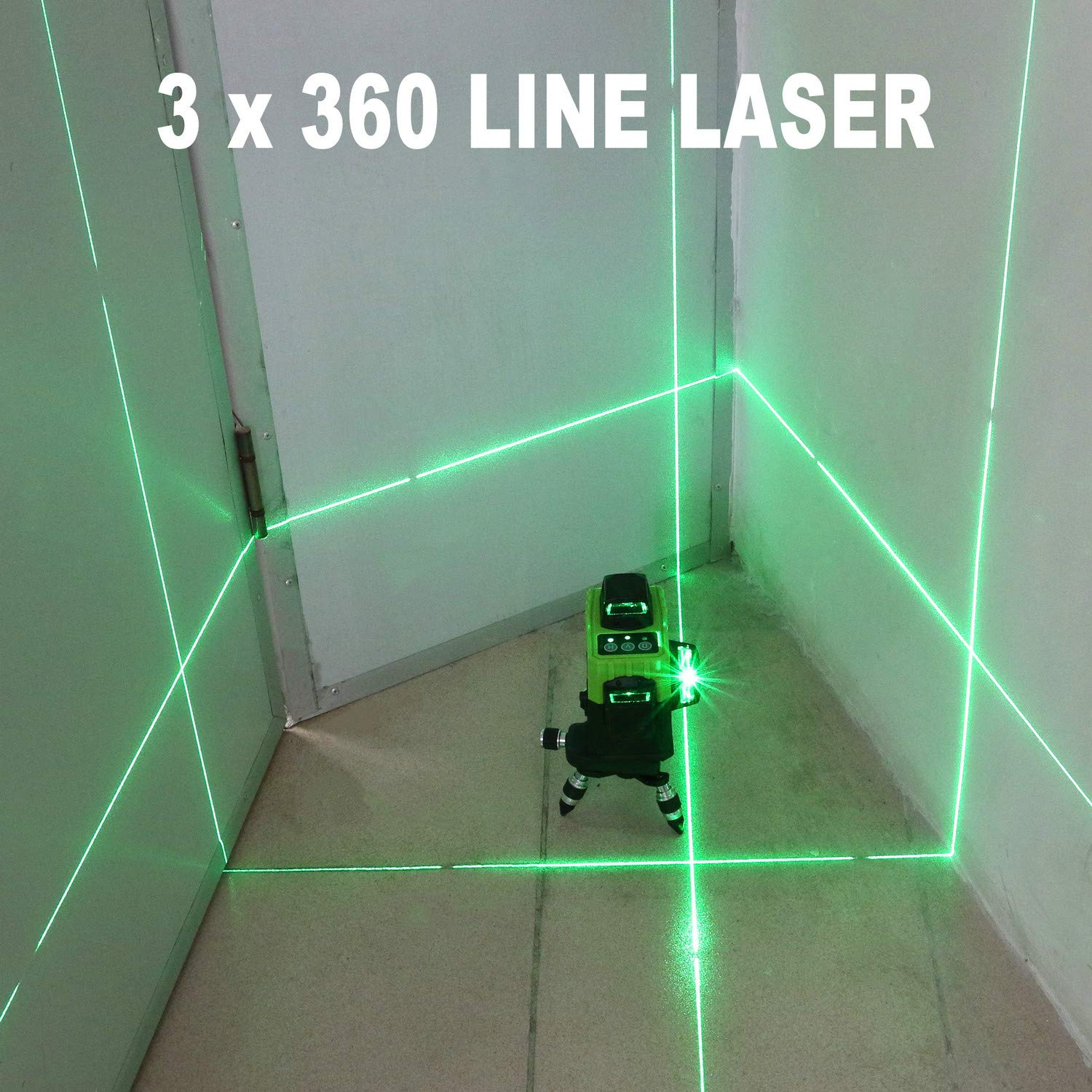 Dingchao Self-Leveling Three-Plane 3 x 360 Green Line Laser Level,with Micro-Adjust / 360 Degree Pivoting Base, Hard Carrying Case,Power Plug Adapter,Multi-functional Laser Leveler Layout Laser Tools by DINGCHAO (Image #4)