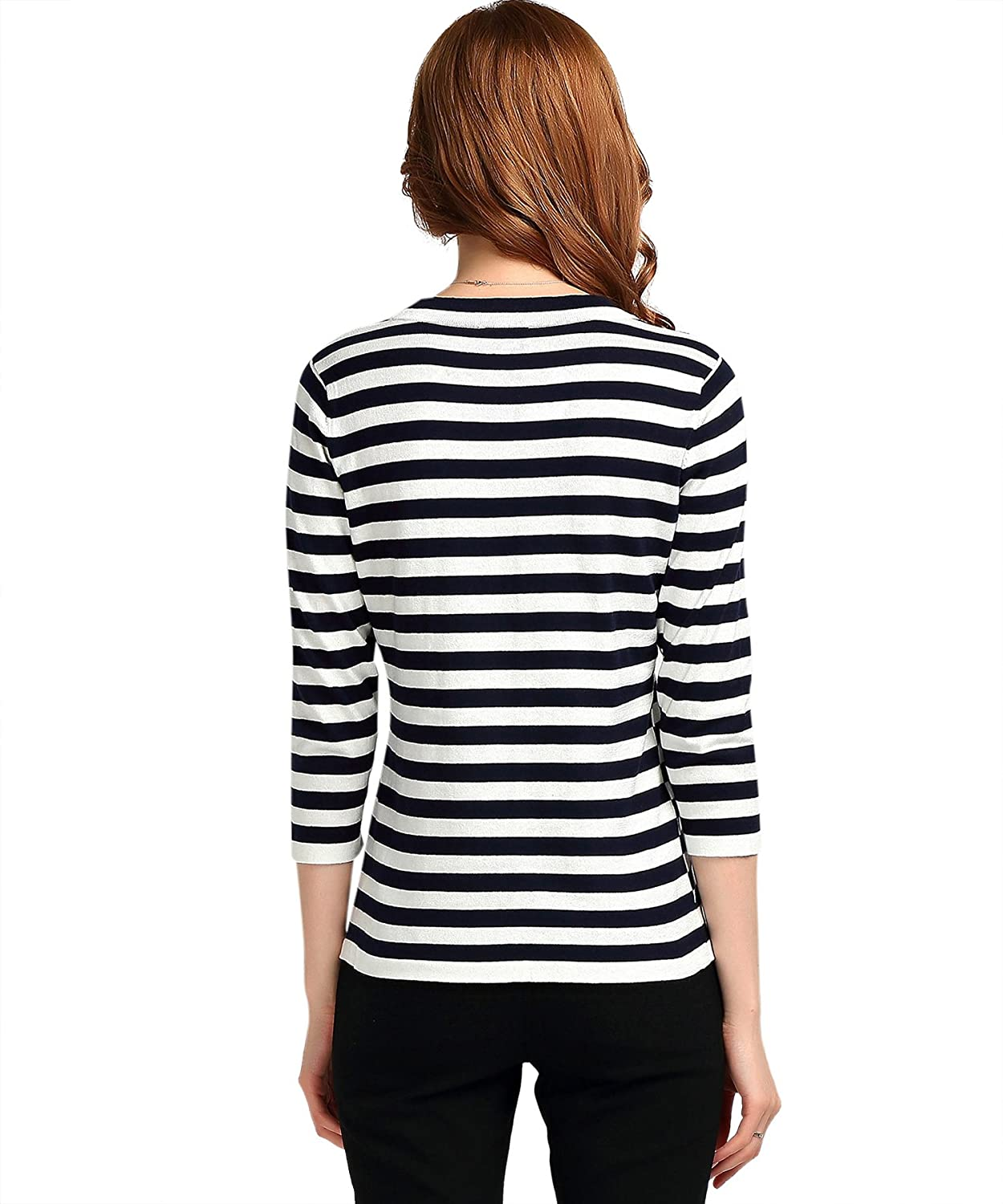 211b1b30755a87 YTUIEKY Black White Stripe Top Sweater 3/4 Sleeves For Women at Amazon  Women's Clothing store: