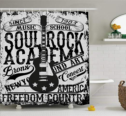 HYJDZKJY Cortina de Ducha Retro Soul Rock Academy Theme Escuela de ...