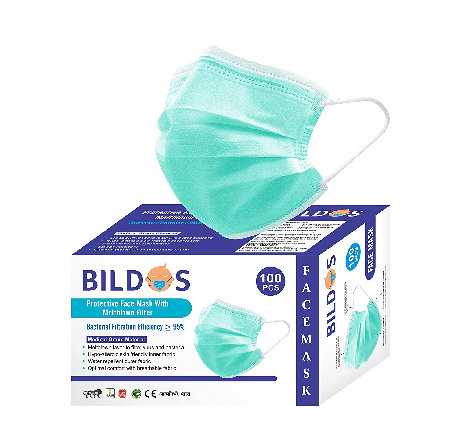 Bildos CE,ISO & GMP Certified Face Mask with Adjustable Nose clip (100 Pcs) 3 Layer Surgical mask Disposable masks with Melt blown Filter - 100 Pcs Box (GREEN)