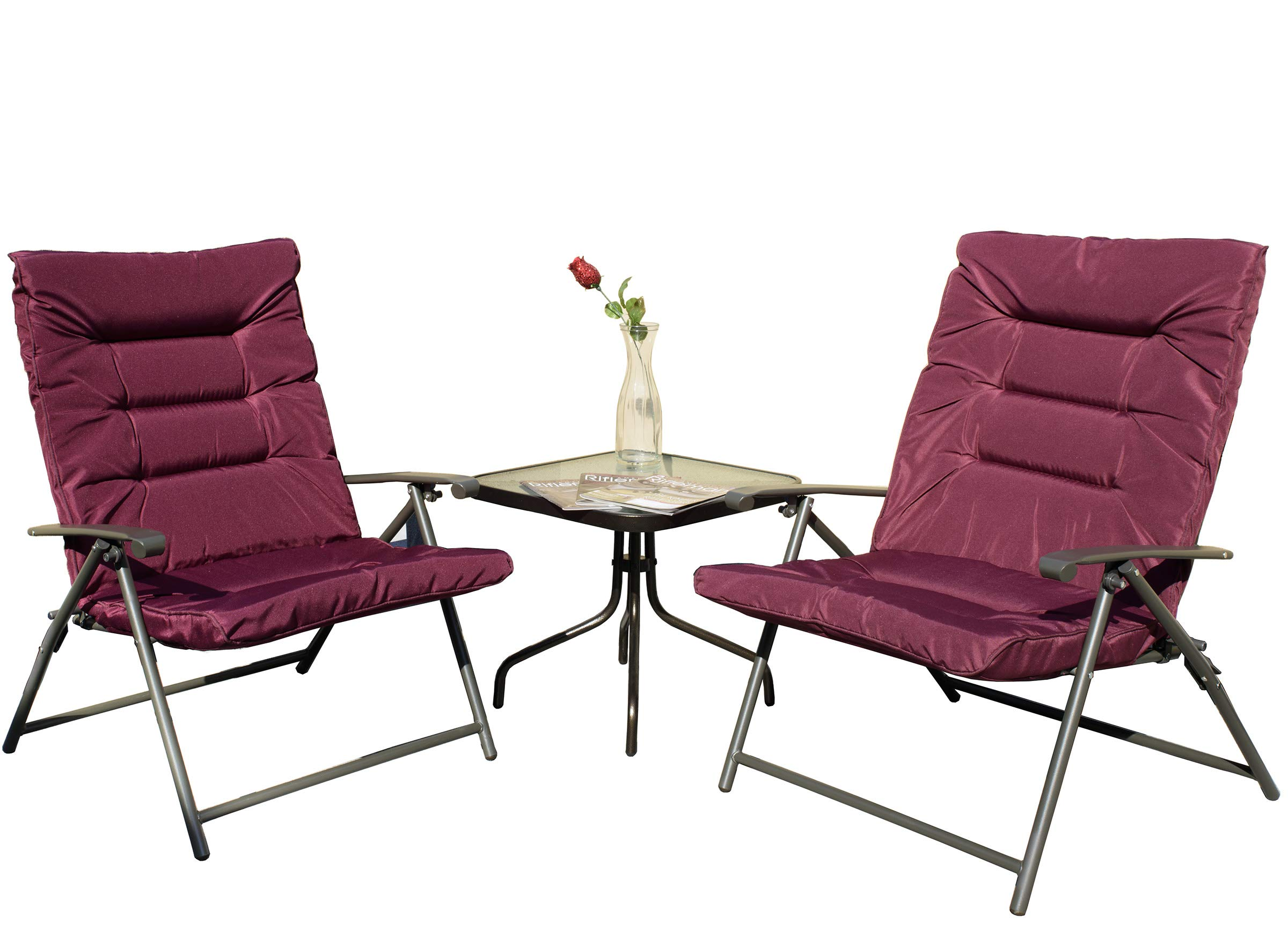 Kozyard Elsa 3 Pieces Outdoor Patio Furniture Padded Folding Bistro-Sets for Yard, Patio, Deck or Backyard(Purple Red)