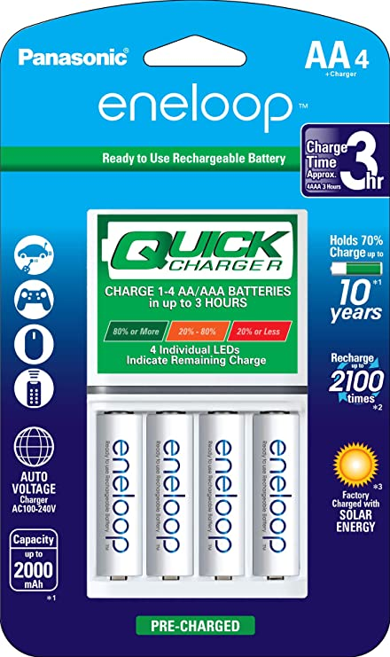 Panasonic Advanced eneloop Individual Battery 3 Hour Quick Charger with 4 AA eneloop Rechargeable Batteries, White & BK-3MCCA4BA eneloop AA 2100 Cycle ...
