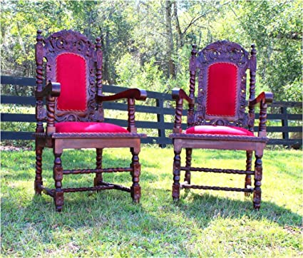 Amazoncom Set 6pcs Dining Chairs Arm Chair W Red Velvet Downton