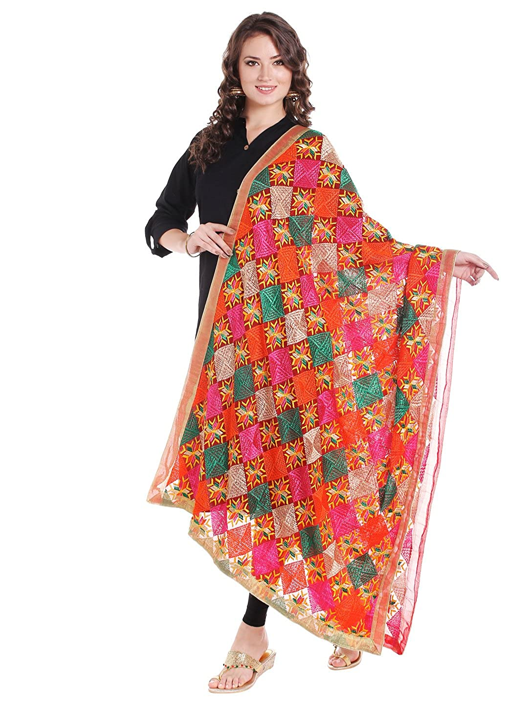 Dupatta Bazaar Women's Red & Multicoloured Chiffon Dupatta with Phulkari Embroidery DB1440