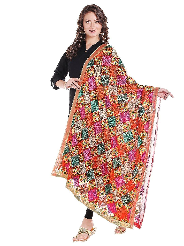 Dupatta Bazaar Women's Red & Multicoloured Chiffon Dupatta with Phulkari Embroidery DB1440