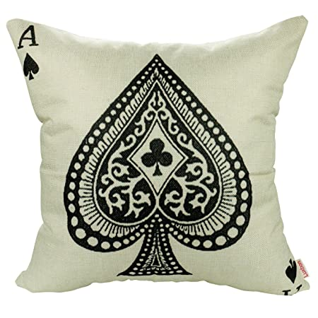 Luxbon Vintage Poker Playing Card Ace Cushion Cover Durable Cotton Linen  Sofa Throw Pillow Case Shabby