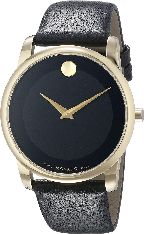 Movado 0606876 Reloj Dorado con Correa de Piel Negra para Hombre