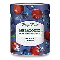 MegaFood, Melatonin Berry Good Sleep Gummies, Soft Chew Supplement to Support Relaxation Vegan, 90 Gummies (45 Servings)