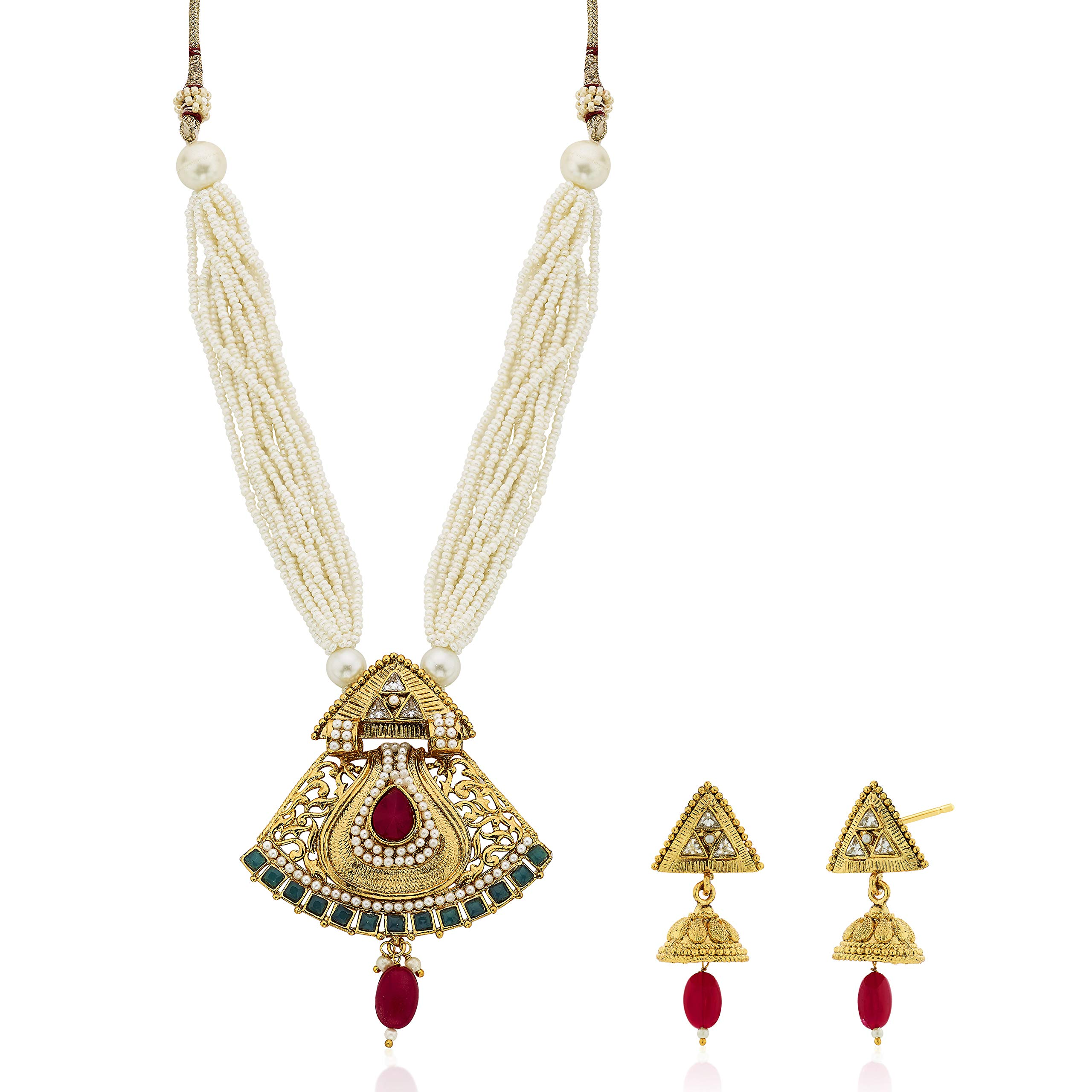Aheli Ethnic Wedding Party Wear Pendant Necklace Earring Set Indian Traditional Festive Jewelry for Women