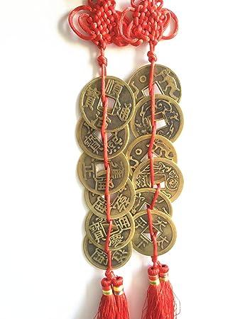"""2 /""""Chinese Feng Shui 3 Münzen Anhänger Amulett Chinesischer Knoten für"""